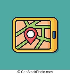 cellphone, gps, icône, carte