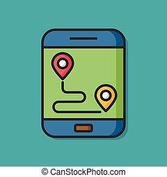 cellphone, gps, vecteur, icône, carte