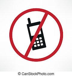 cellphone, vecteur, non, signe