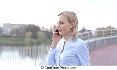 cellphone, ville, jeune, conversation, adolescent, heureux