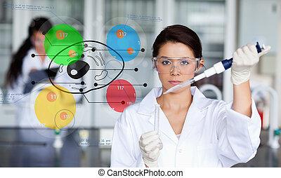 cellule, coloré, diagramme, chimiste, fonctionnement, inteface, sérieux