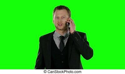 cellule, homme affaires, écran, téléphone., vert