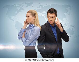 cellule téléphone, femme, homme