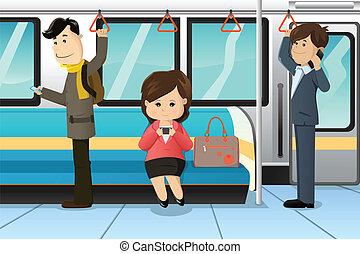 cellule téléphone, train, utilisation, peuples