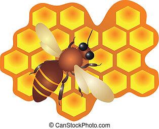 cellules, vecteur, remplissage, abeille ruche