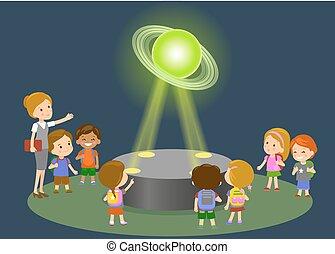 center., école, concept, groupe, gens, physique, musée, -, astromomie, regarder, avenir, saturne, gosses, innovation, élémentaire, leçon, technologie éducation, hologramme