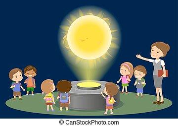 center., école, concept, groupe, gens, soleil, musée, -, physique, astromomie, regarder, gosses, vecteur, future., innovation, élémentaire, leçon, technologie éducation, hologramme