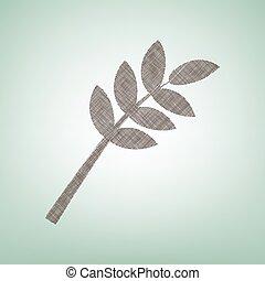center., arrière-plan brun, lumière, signe., arbre, lin, vert, branche, icône, tache, vector.
