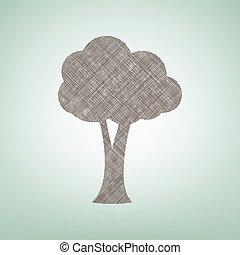 center., brun, illustration., arbre, tache, lin, signe, arrière-plan vert, lumière, icône, vector.