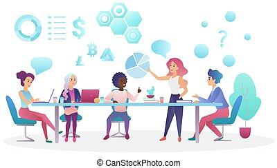 center., concept, bureau, professionnels, travailler ensemble, créatif, conversation, coworking, vecteur, réunion équipe, illustration.