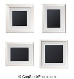 center., image, réaliste, vecteur, vide, cadres, blanc