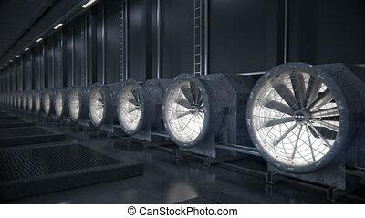 center., refroidissement, données, système