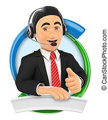 center., service, coutume, appeler, logo., 3d