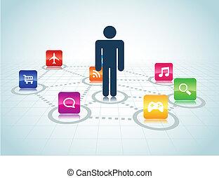 centré, conception, apps, utilisateur