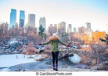 central, adorable, york, parc, girl, ville, nouveau
