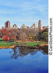 central, nouveau, ville parc, york, automne