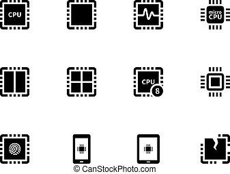 central, unit., icônes, set., traitement, unité centrale traitement