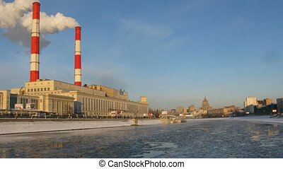 centrale électrique, course, hiver, défaillance, temps, bateau rivière