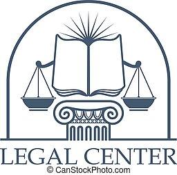 centre, balances, justice, légal, livre, droit & loi, ouvert, icône
