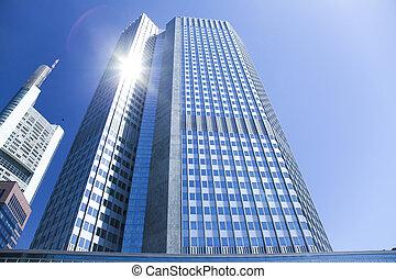 centre, business, bâtiment