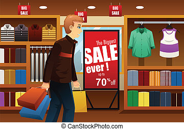 centre commercial, achats, homme