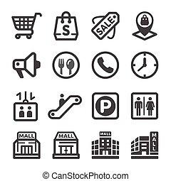 centre commercial, achats, icône