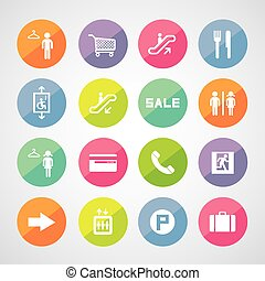centre commercial, achats, icônes