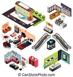 centre commercial, achats, isométrique