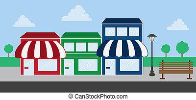 centre commercial, bande, magasin