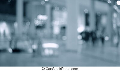 centre commercial, brouillé, gens, fond, temps, vrai