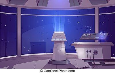 centre, contrôle, intérieur, cabine, capitaine, vaisseau spatial