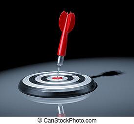 centre, dartboard., illustration, dard, cible, rouges, 3d