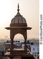 centre, delhi, mosquée, masjid, jama, petit, pendant, tour, indi, coucher soleil