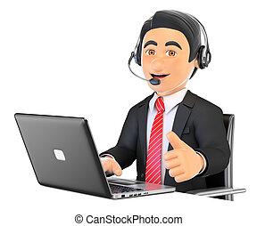 centre, fonctionnement, haut, appeler, employé, 3d, pouce