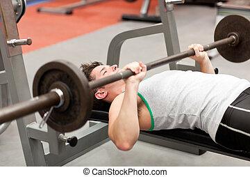 centre, musculaire, haltérophilie, utilisation, mensonge, homme, fitness, jeune