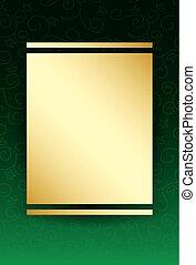 centre, or, -, vecteur, arrière-plan vert