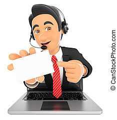 centre, ordinateur portable, vide, appeler, venir, employé, dehors, écran, carte, 3d