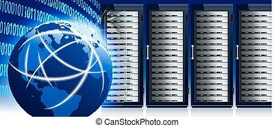 centre, réseau, communication, global, serveur, internet, mondiale, données, etagères, technologie
