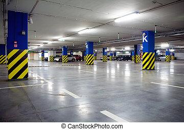 centre, souterrain, achats, garage, stationnement, intérieur
