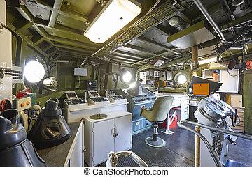 centre, warship., armée, équipement, intérieur, commande, marine, militaire