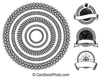 cercle, éléments, cadre