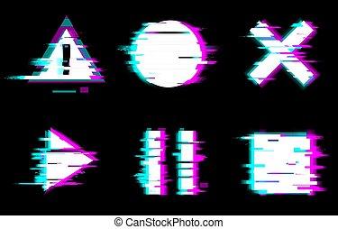 cercle, avertissement, vecteur, arrêt, carrée, style, pause, symboles, jeu, déformé, noir, glitch, illustration, boutons, fond, set.
