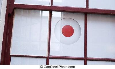 cercle blanc, rouges, fenêtre, point, fermé