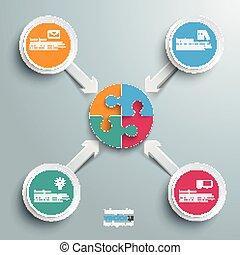 cercle, centre, flèches, puzzle, 4