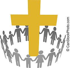 cercle, chrétien, famille, communauté, croix