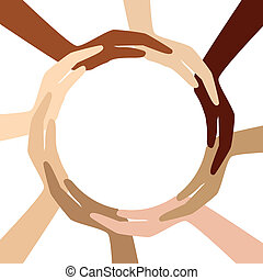 cercle, différent, mains