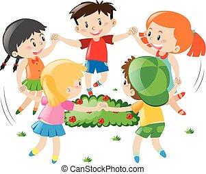 cercle, enfants tenant mains
