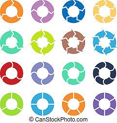 cercle, ensemble, flèches