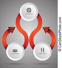 cercle, flèche, icônes