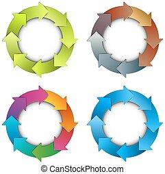cercle, flèches, diagramme